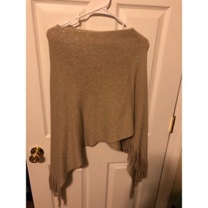 Sweaters - Tan with gold accents poncho